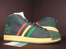 2008 ADIDAS PRO MODEL SUPERSTAR BOB MARLEY TUFF GONG RASTA GREEN YELLOW RED 11.5