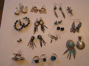 18 PIECES/PAIRS OF SOUTHWEST STYLE JEWELRY – SOME TURQUOISE