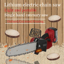 "Lithium Electric Cordless Chainsaw 8"" Chain Saw Power Garden Tool Lightweight"