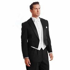 Black Morning Suit With White Vest Mens Wedding Suits Groom Party Prom Tailcoat