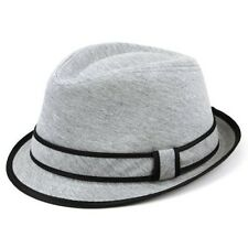 Cotton Trilby Hat Unisex Hawkins GREY Fedora Rolled Brim Cap