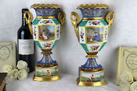 RARE PAIR antique 19thc Vieux paris porcelain scenes floral  Vases swan handles