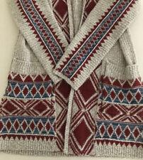 Lucky Brand Size S Women's Open Front Cardigan Tribal Aztec Cotton Blend EUC