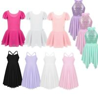 Kids Girls Ballet Dance Dress Kids Lyrical Leotard Tutu Skirt Dancewear Costume