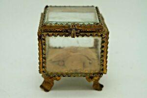 Kiste Klein Kabinett Carre Ring Schmuck Antik Glas Kippe Napoleon III