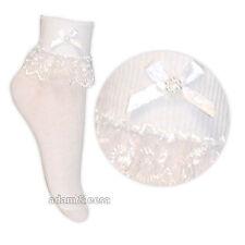baby crema , rosa y blanco Bufón Encaje Volantes Calcetines 1 Par O 3 Pares Lote