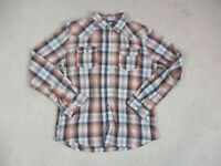 Levis Pearl Snap Button Up Shirt Adult Medium Orange Long Sleeve Western Men *