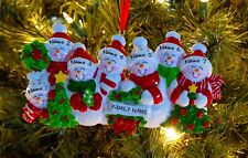 Snow Family Of 7 Personalized Christmas Tree Ornaments