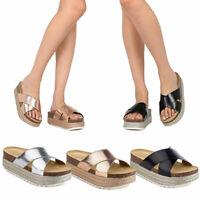 Women Espadrille Slides Footbed Sandals Platform Slip On Flat Beach Shoes