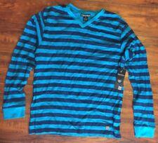 new NWT - WAIMEA - HENLEY L/S THERMAL SHIRT Large Boys 16 Blue Striped Surf