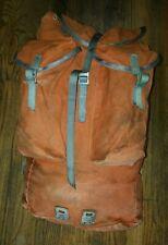 HUGE Vintage Karrimor Orange Canvas Pack Hiking Leather Parts Backpack Bag Gear
