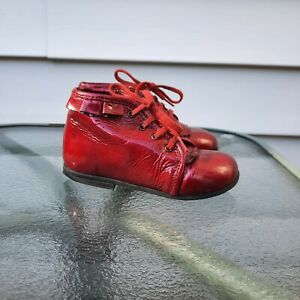 Aster Girls Toddler Shoes Candy Red Leather Booties Size EU 23 Made in France