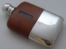 More details for c1940's silver plate plated leather bound glass hip flask james dixon 1/8pt