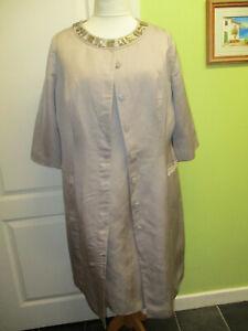 MOTHER OF THE BRIDE SIZE 18-20 M&S PORTFOLIO MINK DRESS SUIT - DRESS & COAT