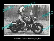 OLD POSTCARD SIZE PHOTO INDIAN MOTORCYCLE CHIEF LAUNCH PRESS PHOTO c1940