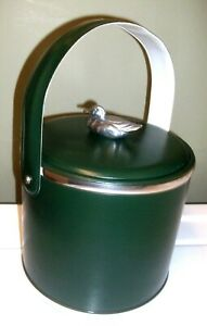 Vtg Georges Briard Green Faux Leather Pewter Duck Insulated Handled Ice Bucket