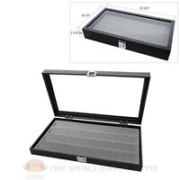 Glass Top Jewelry Organizer Display Case 24 Pair Earring Gray Insert Travel
