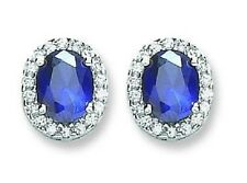 RHODIUM PLATED SOLID 925 STERLING SILVER OVAL CUT BLUE SAPPHIRE HALO  EARRINGS