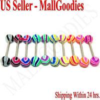 "W058 Acrylic Tongue Rings 14G Bars Barbells Wavy Stripes Pattern 5/8"" LOT of 10"
