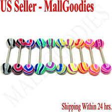 "W058 Acrylic Tongue Rings 14G Bars Barbells Wavy Stripes Pattern 5/8"" LOT of 10"