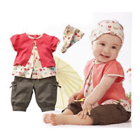 3pcs Kids Child Girl Infant Baby Top+Pants+Headband Outfit Clothing Set 0-36M