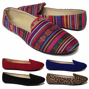 NEW Women's Casual Ballet Flat Heel Shoes Flats Velvety Blue Leopard Stripes