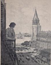 GASTON PROST Femme au Balcon GRAVURE 32x25 cm XX° siecle
