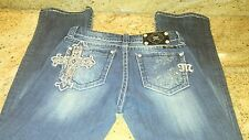 "MISS ME BUCKLE ""Easy Boot"" Jeans JE5340E72 Size Tag 26 (30x31) Cross Bling Studs"