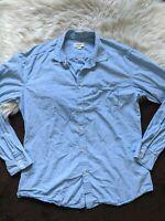 Diesel Button Up Front Shirt Mens XXL Light Blue Long Sleeve Zip Pocket