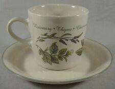 Corning Thymeless Herbs Flat Cup Saucer Set Coffee Tea Mug Windowsill Garden