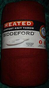 "Biddeford Comfort Knit Fleece Heated Electric ThrowBlanket, 62""x50"", Red NEW!!"