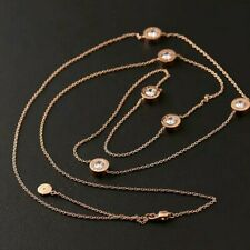 Michael Kors Rose Gold Tone Crystal sweater Chain Necklace
