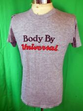 Vintage 1970s 80s Thin Grey Poly/Cotton USA Made Universal Gym Workout T-shirt M