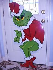 MADE & READY TO SHIP HAND MADE GRINCH STEALING CHRISTMAS LIGHTS YARD ART DECOR.