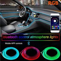 6M LED Car Interior Neon EL Strip Light Active Bluetooth Phone Control Colorful