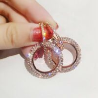 Rose Gold/Silver Crystal Round Hoop Earrings Women Jewelry Gift Party Wedding