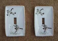 2 Vintage porcelain light switch cover, duck design