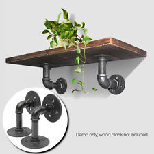 2Pcs DIY Iron Steampunk Industrial Steel Pipe Shelf Bracket Bookcases Holder