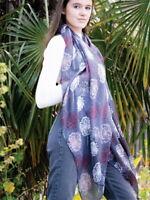Grey Dandelion Scarf Scarves Flower Floral Shawl Wrap Ladies Scarfs Charcoal New