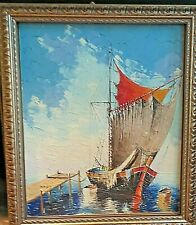 ANTIQUE OIL PAINTING NAILED ON CANVAS SIGNED FRAMED
