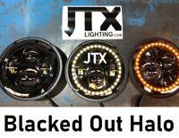 """JTX 7"""" LED Headlights Plain Blacked Out Halo Datsun 1200 1300 240Z 260Z"""
