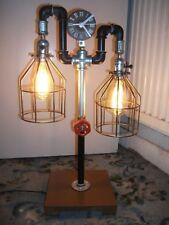 Handmade Industrial Metal Retro Steel Pipe Twin Bulb Table Lamp / Clock