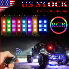 8 Pods Multicolor LED Rock Lights Wireless Control RGB Offroad Neon Light Kit