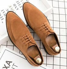 Handmade Men's Leather Wingtip Tan Suede Dress Formal Shoes- 9.5