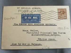 Brussels to Belgian Congo 1932 Air Mail Postcard Imperial Airways