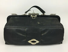 Antique Original Black Leather DOCTORS TRAVELING BAG - Complete with Key
