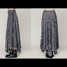 NWT $168 Free People Gauzy Wool Plaid Striped Maxi Skirt Crochet Gray 0 XS Rare