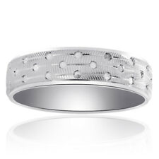 Cut Circles Mens Wedding Band 6.0mm 14K White Gold Diamond