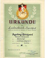 Urkunde DDR 1954, Sport ,SELTEN