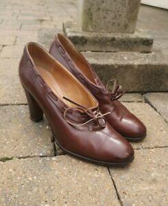 Vintage 1940s Shoes WW2 Era Ladies Brown Leather  Bow Lotus 1930s Size 38 /5